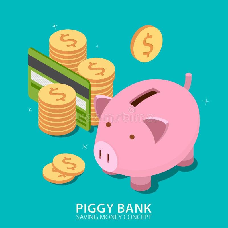 Torre do mealheiro e do dinheiro com cartão de crédito ilustração stock