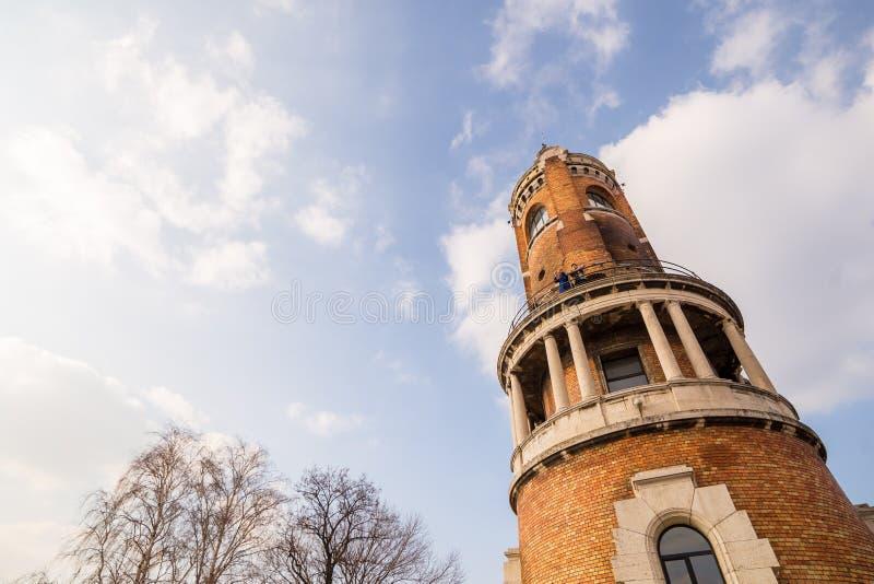 A torre do milênio conhecida como a torre de Gardos no condado de Zemun de Belgrado o capital da Sérvia A ideia da parte traseira fotografia de stock royalty free