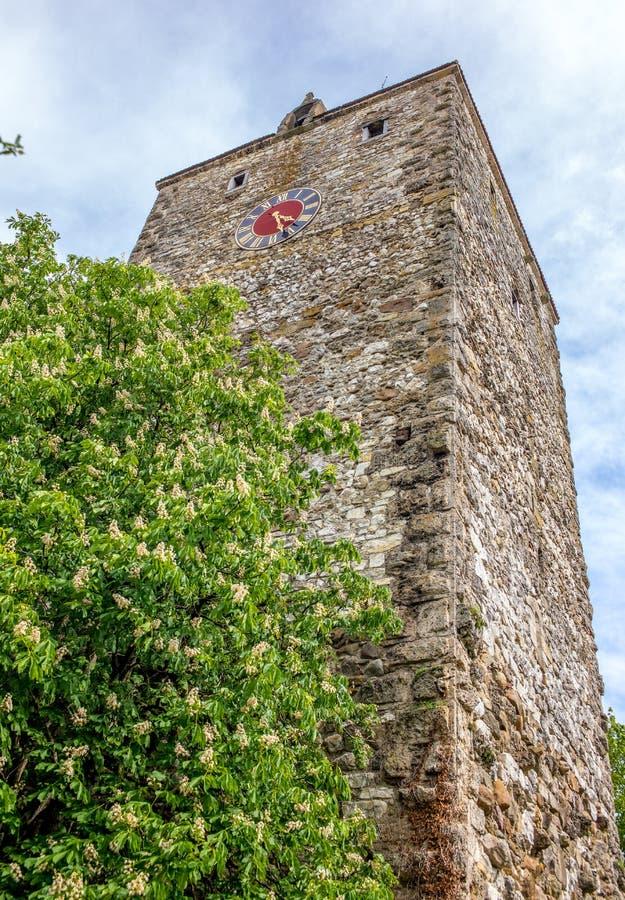 Torre do relógio de Kaiserstuhl em Suíça fotografia de stock royalty free