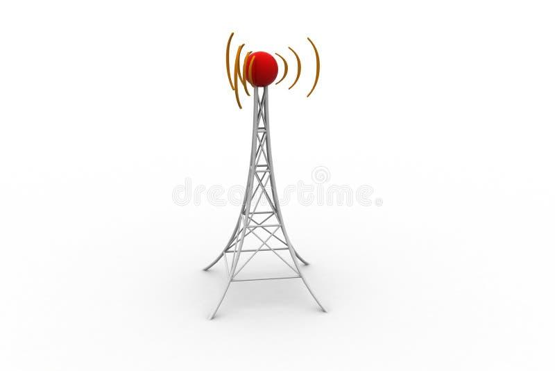 Torre do sinal com trabalhos em rede ilustração stock