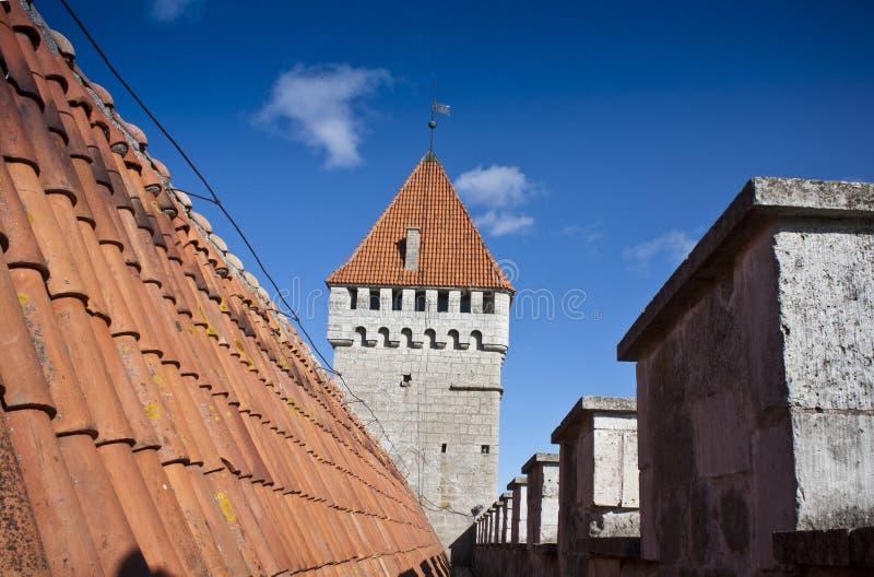 Torre do telhado e da defesa imagens de stock