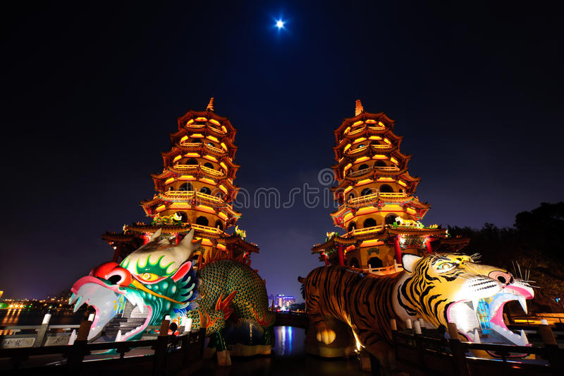 Torre do tigre do dragão de kaohsiung fotografia de stock royalty free