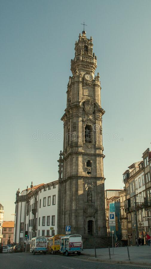 The Torre dos Clérigos in the city of Porto, in Portugal. Porto/Portugal; 01/19/2017. The Clérigos Church is a Baroque church in the city of Porto. The royalty free stock images