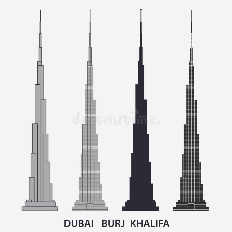 Torre Dubai de Burj Khalifa Silhueta do arranha-céus, construção famosa Vetor ilustração do vetor