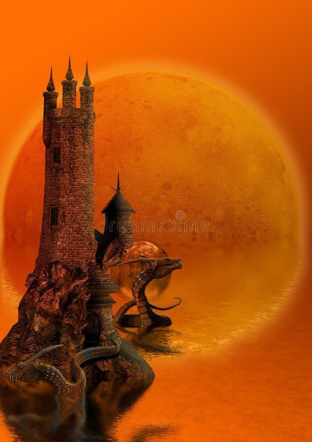 Torre e dragões ilustração royalty free