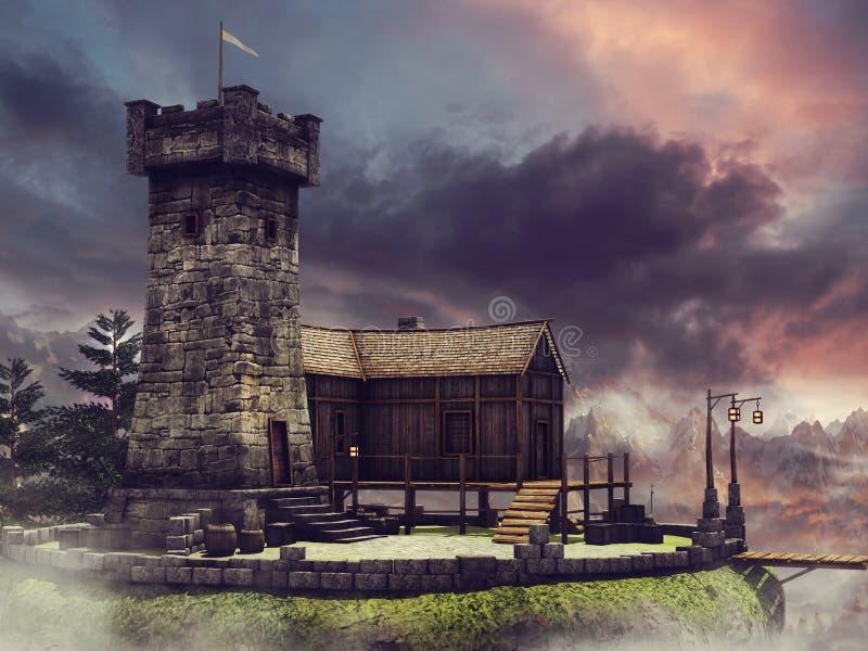 Torre e ponte da fantasia ilustração do vetor