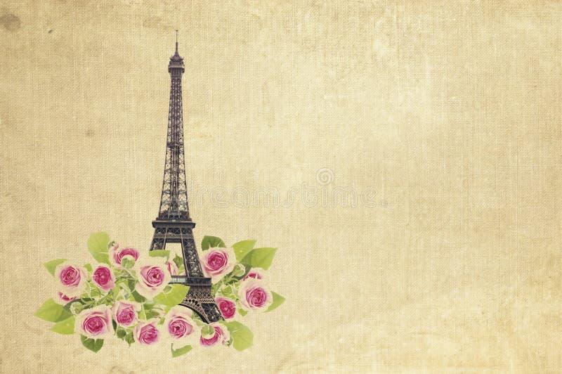 Torre e rosas de Eifel fotografia de stock royalty free