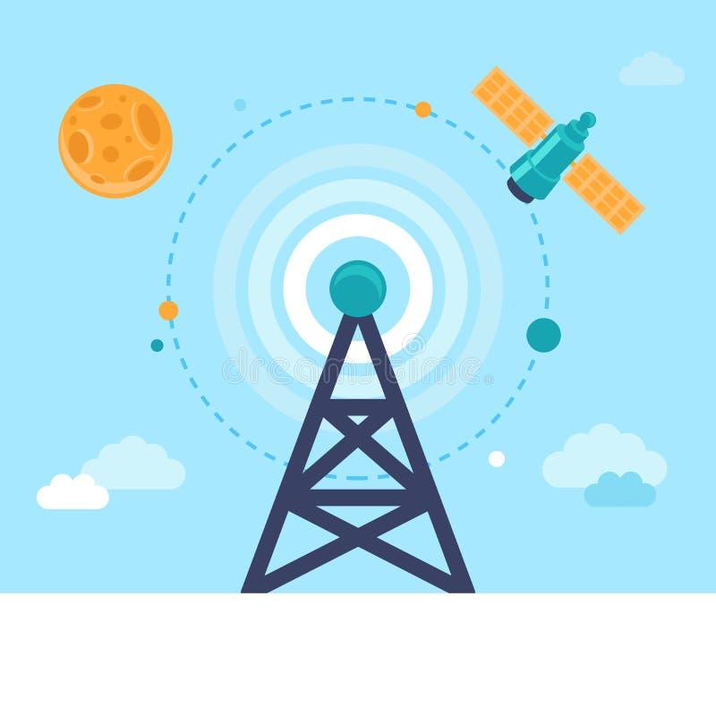 Torre e satélite de antena do vetor ilustração do vetor