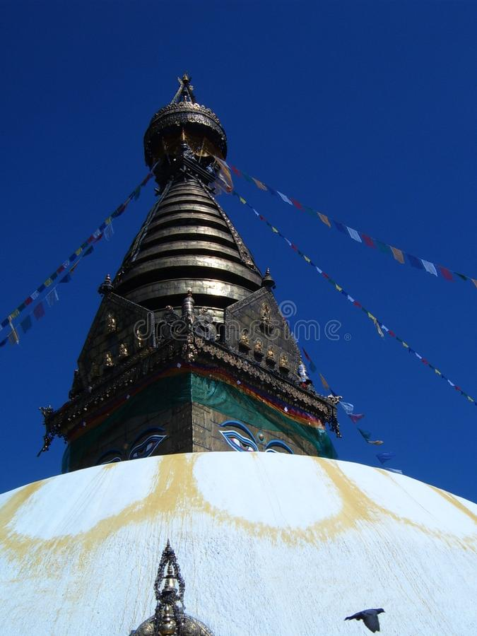 Torre e tetto di Swayambhunath stupa Kathmandu fotografia stock libera da diritti