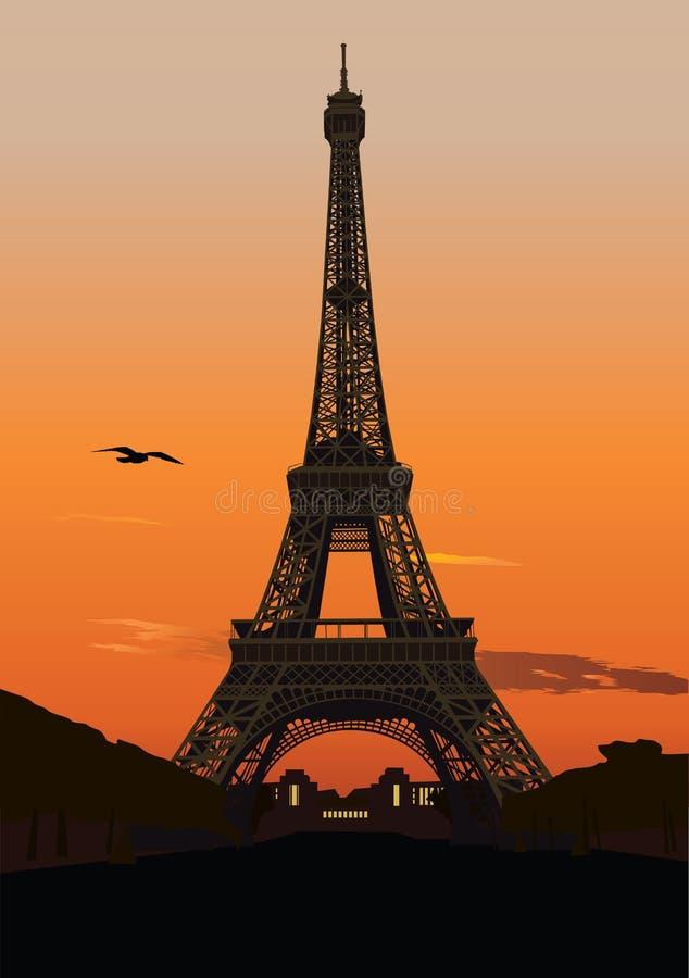 Torre Eiffel al tramonto illustrazione vettoriale