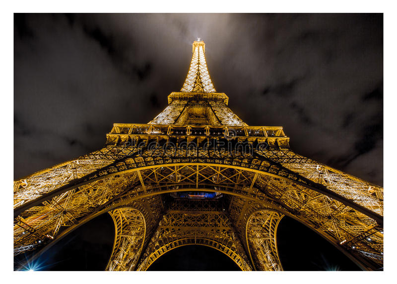 Torre Eiffel alla notte fotografia stock libera da diritti
