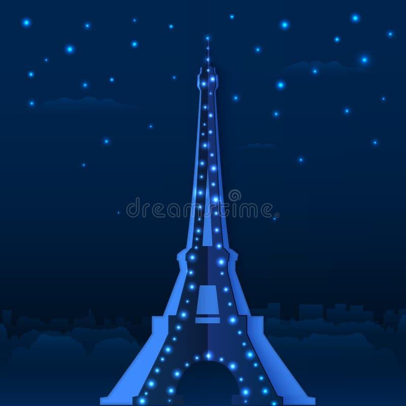 Torre Eiffel azul do vetor da noite do papel do entalhe ilustração royalty free
