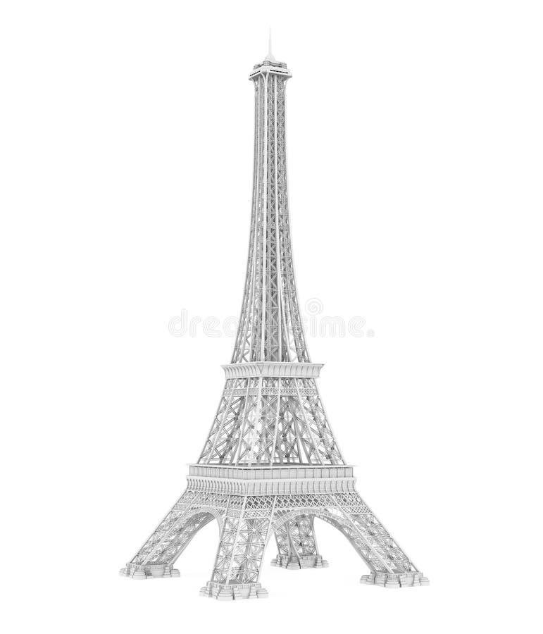 Torre Eiffel branca isolada ilustração stock