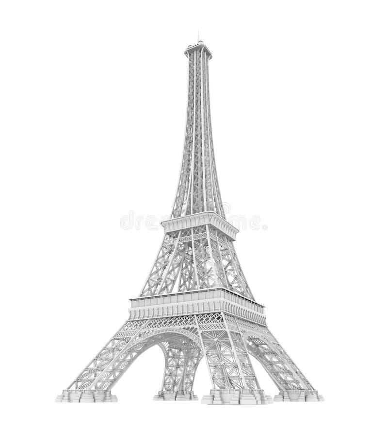 Torre Eiffel branca isolada ilustração royalty free