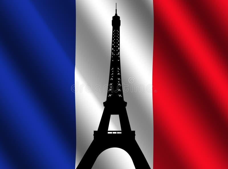 Torre Eiffel com bandeira francesa ilustração do vetor
