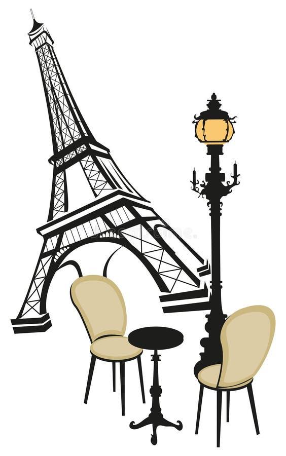 Torre Eiffel con las luces de calle ilustración del vector