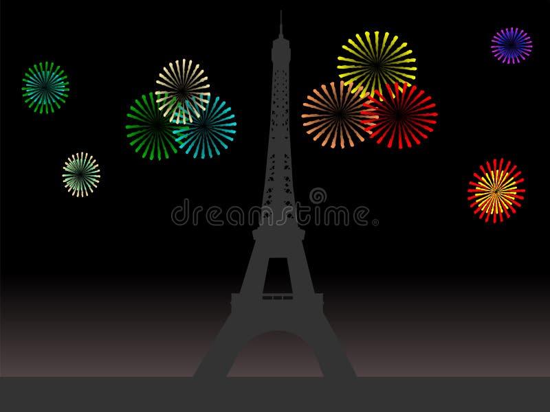 Torre Eiffel con los fuegos artificiales ilustración del vector