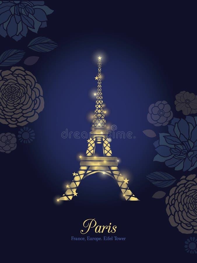 Torre Eiffel d'ardore dorata di vettore circondata dai fiori nella siluetta di Parigi alla notte illustrazione di stock