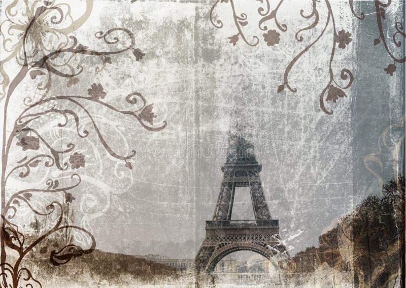 Torre Eiffel de Grunge ilustração stock