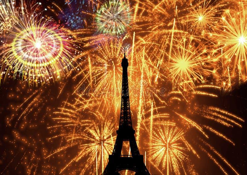 Torre Eiffel de los fuegos artificiales ilustración del vector