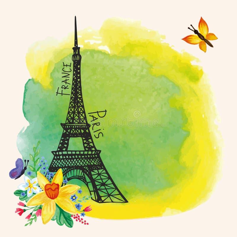 Torre Eiffel de París, punto de la acuarela, narciso ilustración del vector