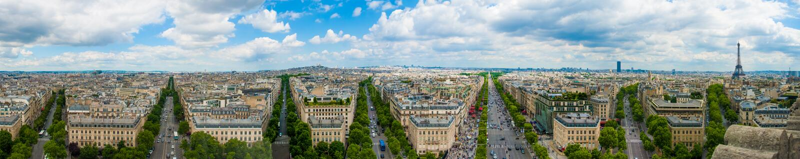 Torre Eiffel de Paris França do triunfo de Arc de Triomphe da opinião do panorama fotos de stock royalty free