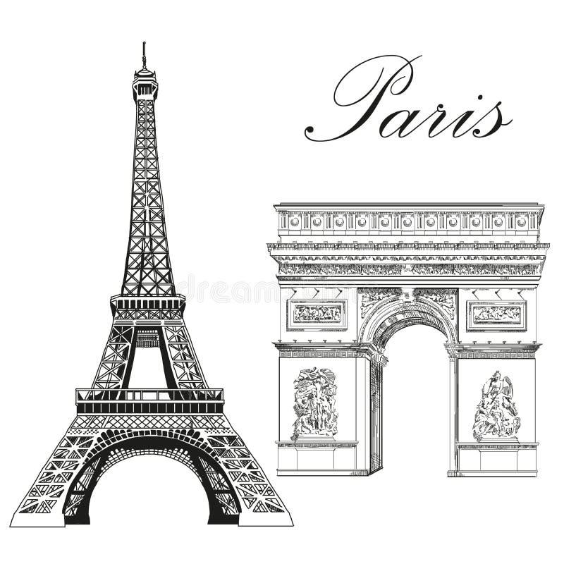 Torre Eiffel del vector y arco triunfal stock de ilustración