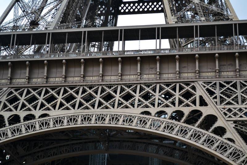 Torre Eiffel, dettagli d'acciaio del constrution, Parigi, Francia fotografia stock libera da diritti