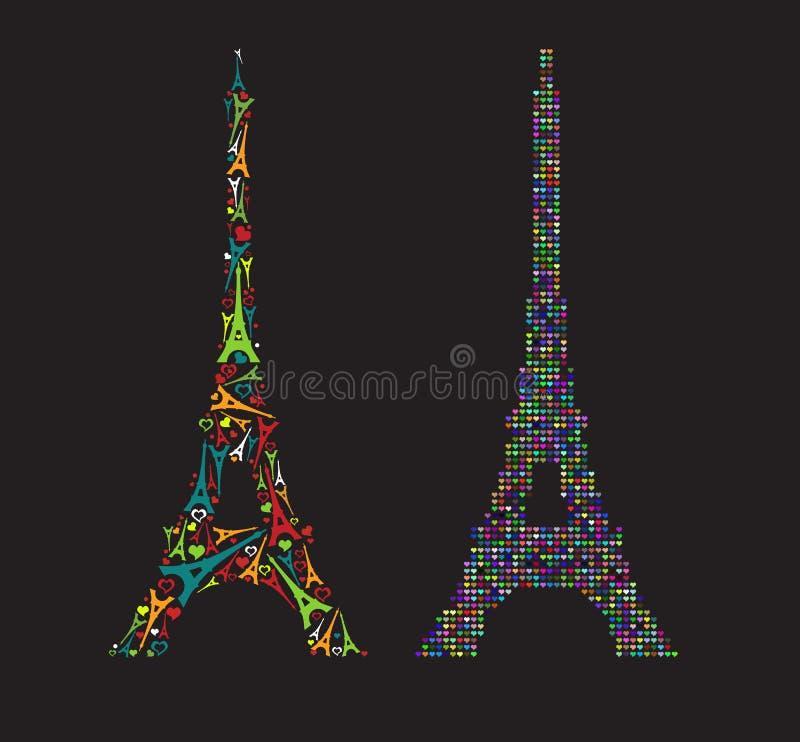 Torre Eiffel di colore pieno che consiste di piccolo di Eiff colorato multi royalty illustrazione gratis