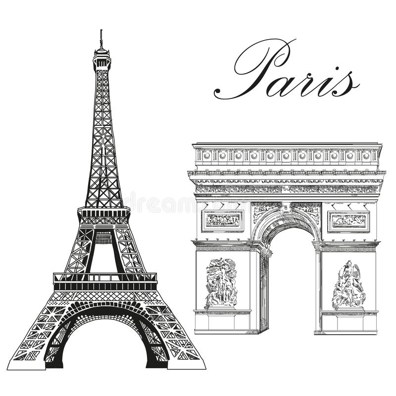 Torre Eiffel di vettore ed arco trionfale illustrazione di stock