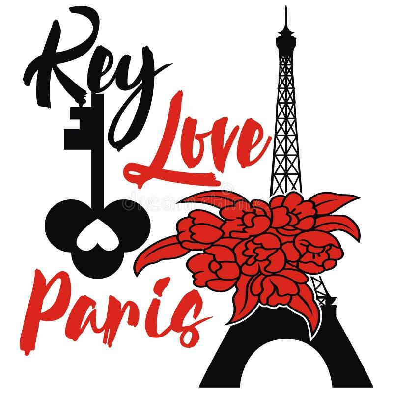 Torre Eiffel do projeto de Paris com chave e flor ilustração royalty free