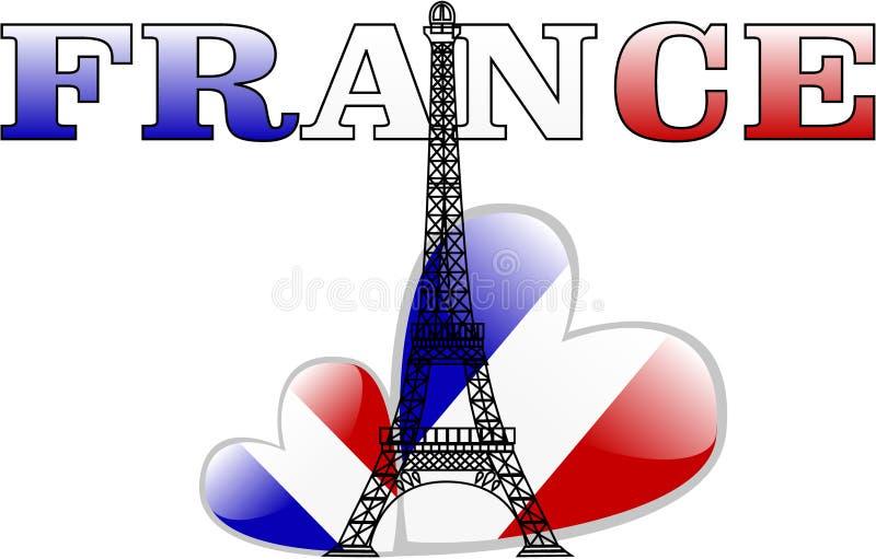 A torre Eiffel do vetor e o coração da bandeira de france ilustração royalty free