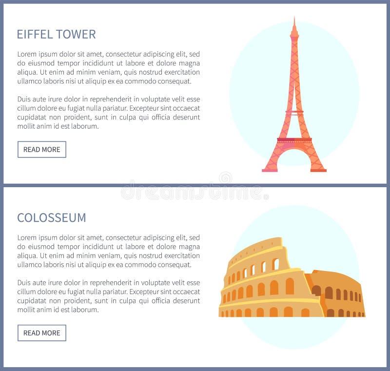 Torre Eiffel e ilustração do vetor de Colosseum ilustração royalty free