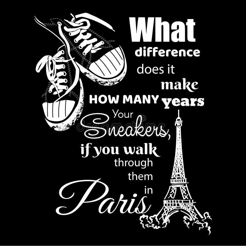 Torre Eiffel e scarpe da tennis illustrazione vettoriale