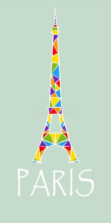 Torre Eiffel em cores arco-íris ilustração royalty free
