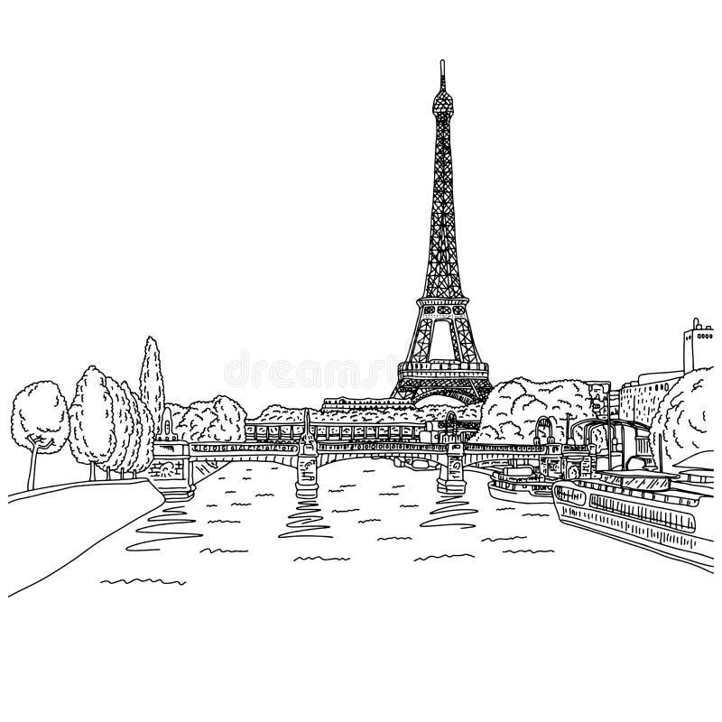 Torre Eiffel em Paris com a mão da garatuja do esboço da ilustração do vetor do lamdscape tirada com as linhas pretas isoladas no ilustração royalty free