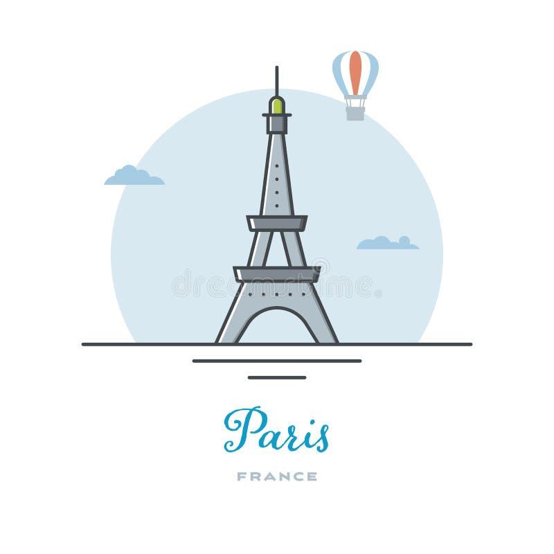 Torre Eiffel em Paris, França, ilustração lisa do vetor ilustração stock