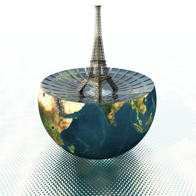 Torre Eiffel en la mitad de la tierra ilustración del vector