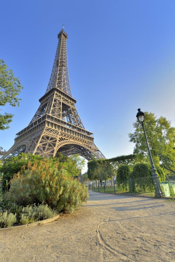 Torre Eiffel en la opinión de París del jardín de Champs de Mars fotografía de archivo