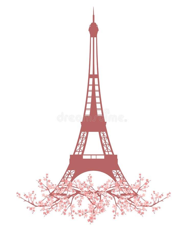 Torre Eiffel entre vector del flor de Sakura stock de ilustración