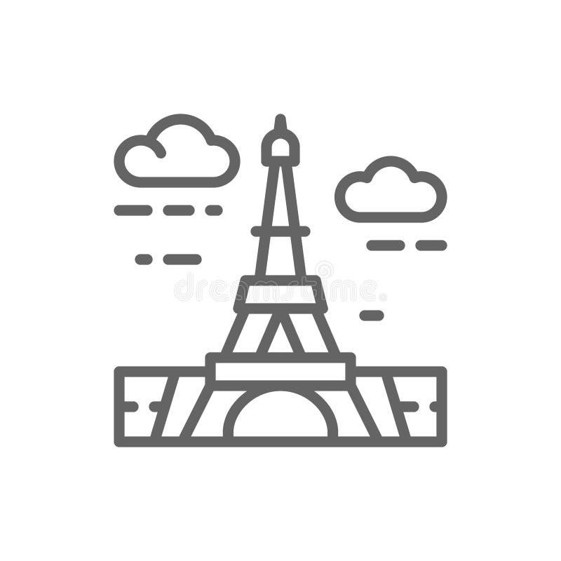 Torre Eiffel, Fran?a, linha ?cone do marco ilustração do vetor