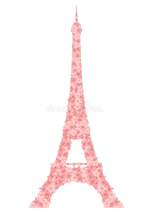 Torre Eiffel hecha de diseño rosado del vector de las flores de Sakura stock de ilustración