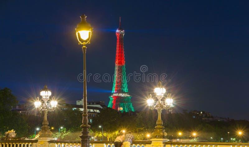 A torre Eiffel iluminou-se acima nas cores da bandeira portuguesa, Paris, Fra fotografia de stock royalty free