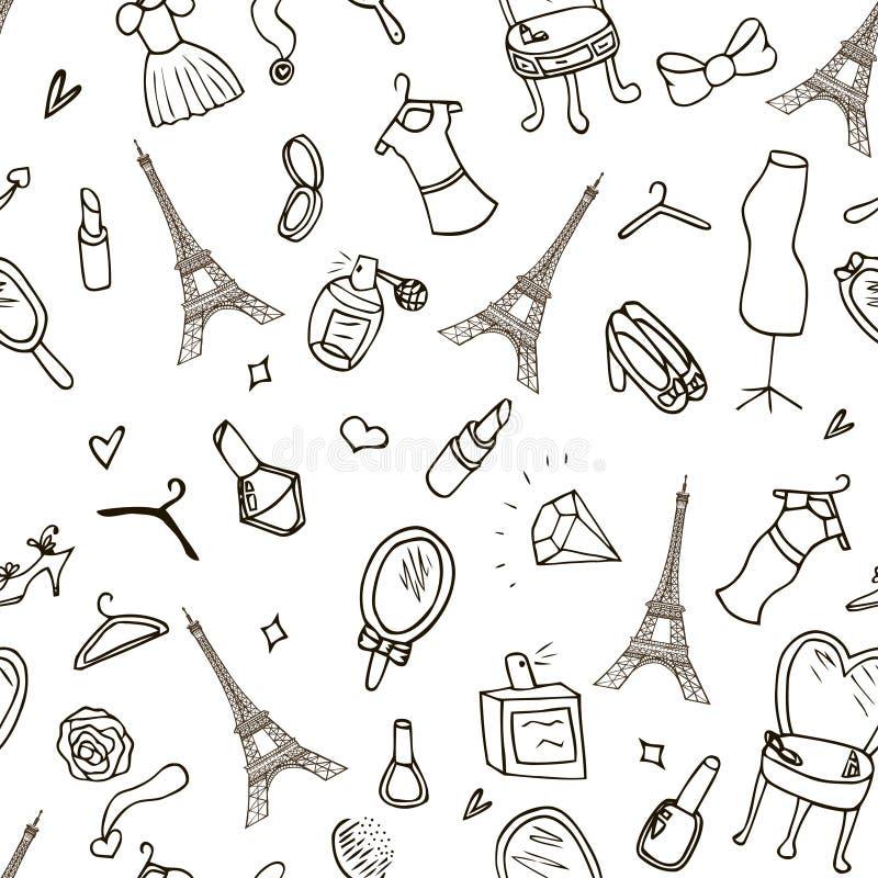 Torre Eiffel inconsútil hermosa de París del fondo, moda ilustración del vector