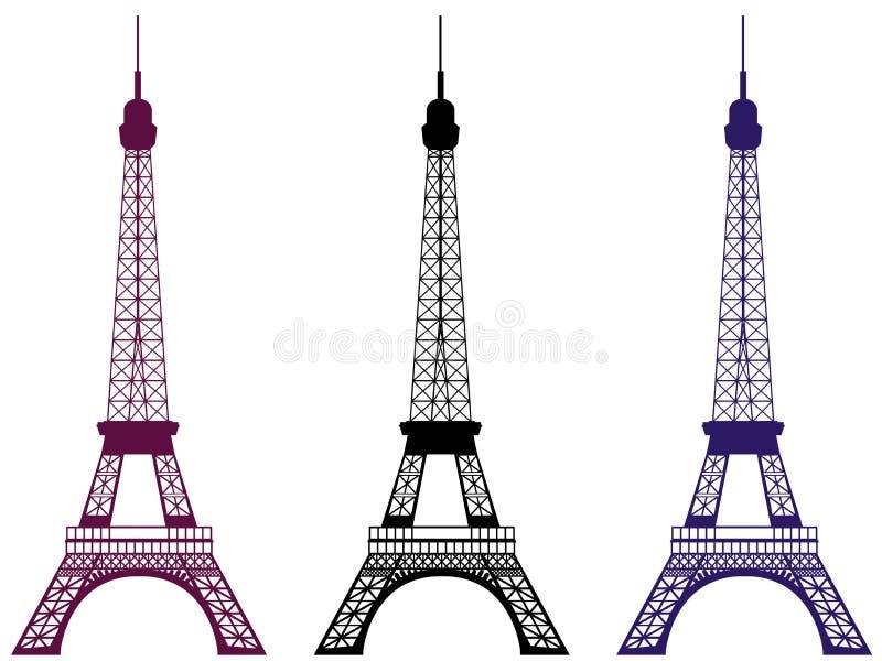 Torre Eiffel isolada no fundo branco Paris, France Ilustração do vetor ilustração do vetor