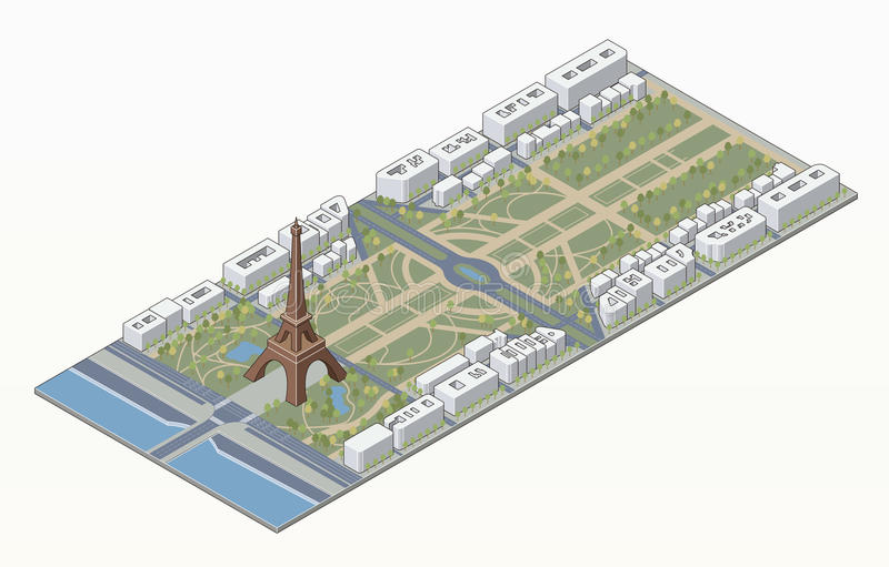 Torre Eiffel isométrica e Champ de Mars ilustração stock