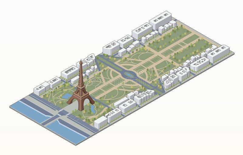 Torre Eiffel isometrica e Champ de Mars illustrazione di stock