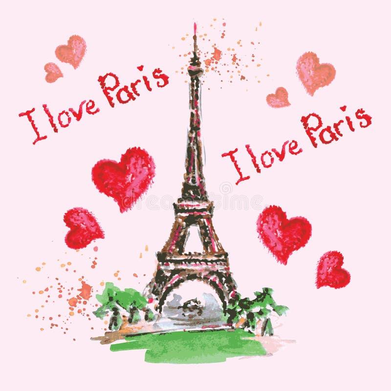 Torre Eiffel, letras, corazones rosados Decoración dibujada mano de la acuarela stock de ilustración