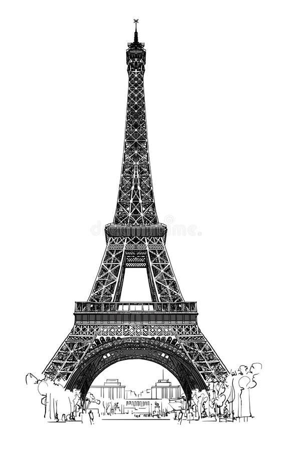 Torre Eiffel, molto dettagliata illustrazione di stock