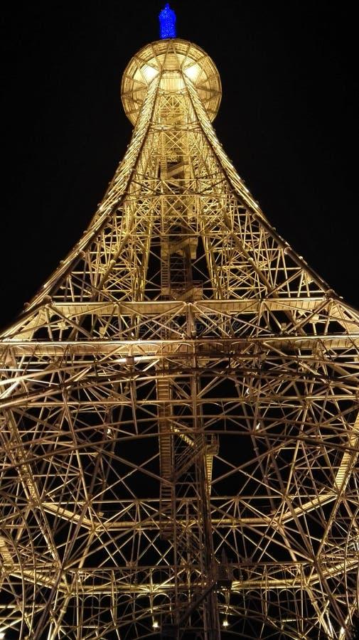 Torre Eiffel na cidade de Nantong Haimen (Jiangsu, China) fotografia de stock royalty free